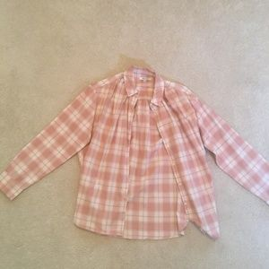 Madewell Plaid Pink and White Button Down